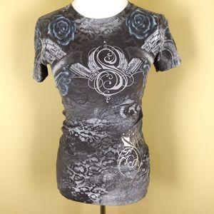 Affliction Sinful T-shirt grey blue roses revolver
